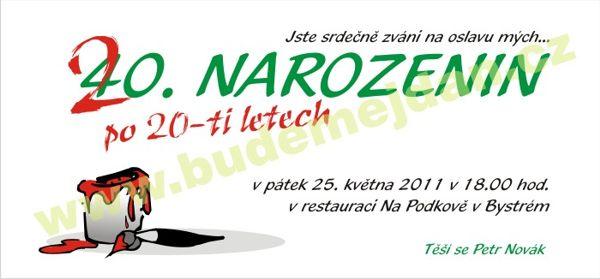 oslava 40 narozenin pozvánka Budemejdan.cz   pozvánky na nejrůznější akce oslava 40 narozenin pozvánka